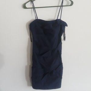 Navy bodycon bowtie spaghetti strap dress SIZE 1